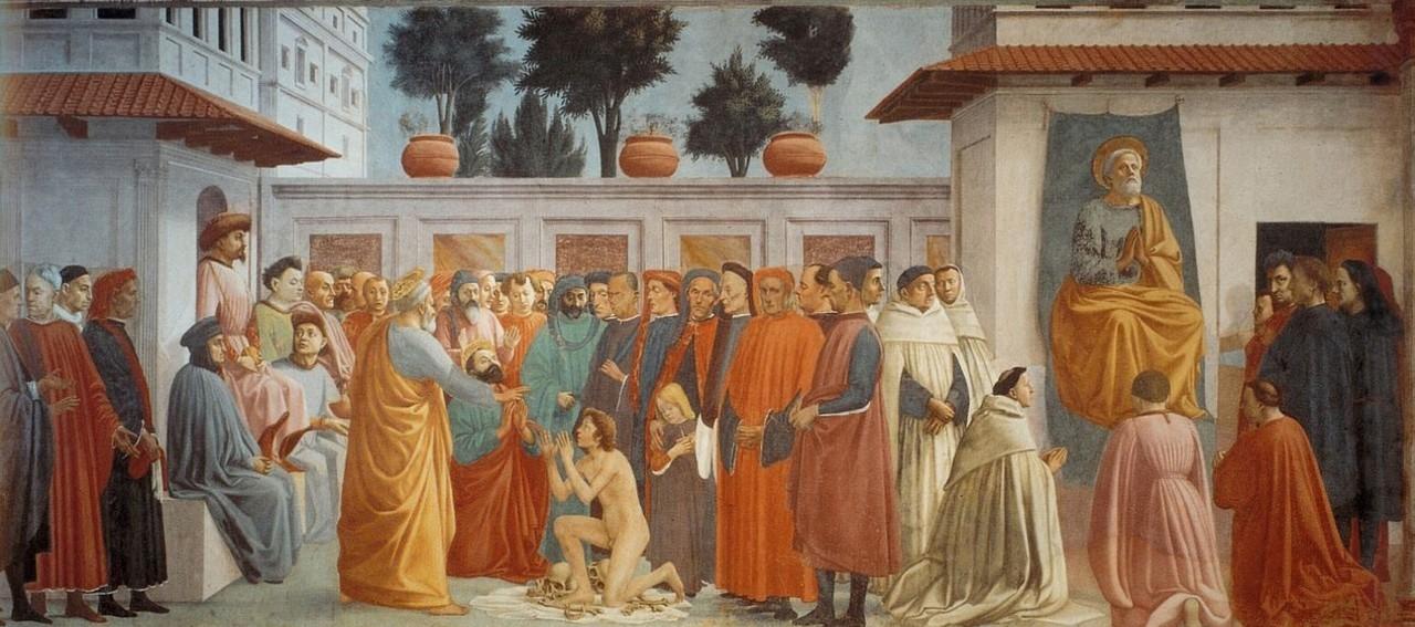 Мазаччо - Воскрешение сына Теофила и Св. Пётр на кафедре.jpg