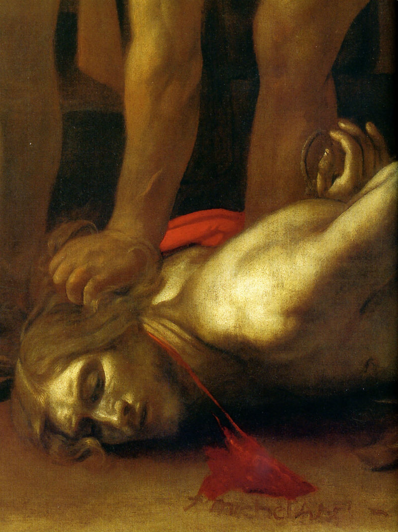 Живопись_Караваджо_Усекновение-главы-Иоанна-Предтечи-1608_Подпись-Караваджо.jpg