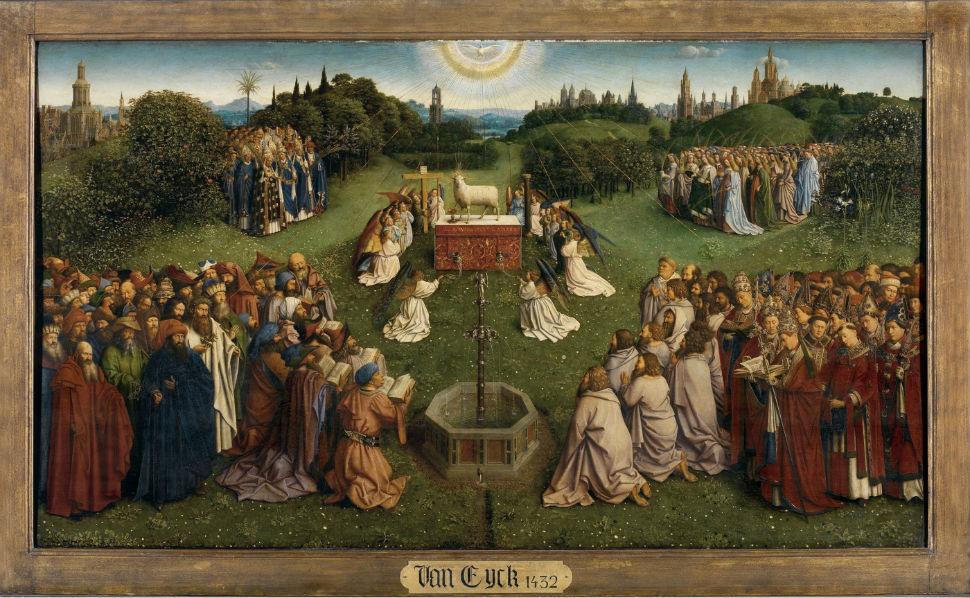 3 - Гентский алтарь. Поклонение агнцу (фрагмент).jpg