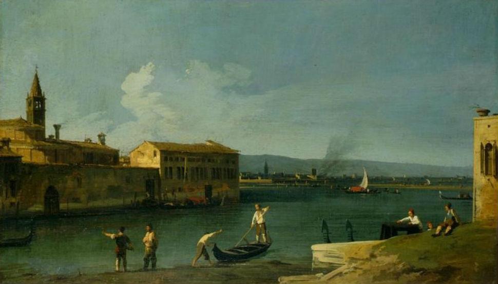 9-Каналетто - Вид на церковь острова Лагуны и церковь Санта Мария делле Вирджини от Кампо Сан Пьетро ди Кастелло - 18 век.jpg