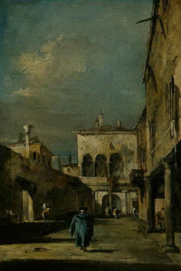 10-Франческо Гварди - Архитектурная фантазия с двориком - 18 век.jpg