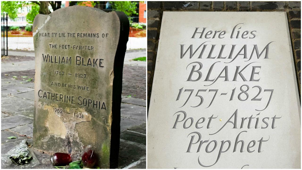 2-Слева — старый могильный знак указывавший примерное местоположение могилы Уильяма Блейка и его жены; справа — новое надгробие на точном месте захор…
