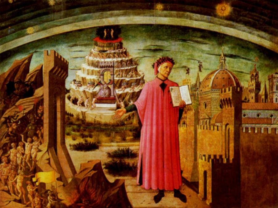 Данте изображен держащим копию Божественной комедии рядом со входом в Ад семью террасами Горы Чистилища городом Флоренция и сферами Неба вверху на фр…