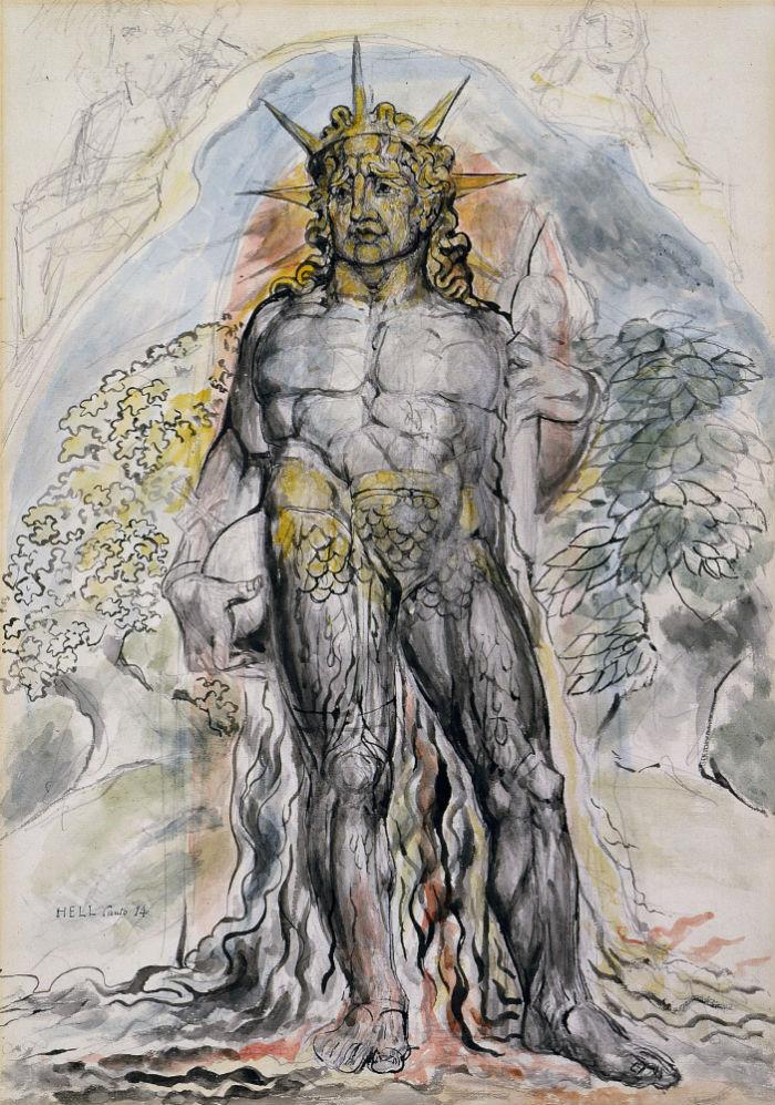 8-Уильям Блейк - Символическая фигура курса истории человечества описанная Вергилием - Иллюстрации для Божественной комедии - 1827.jpg