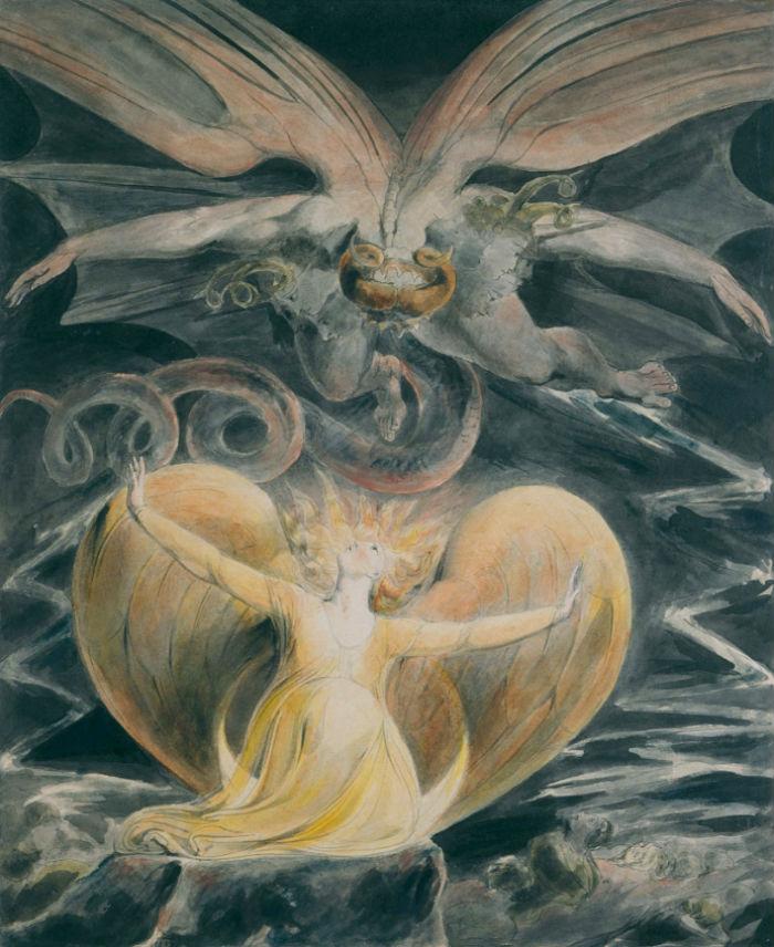 10-Уильям Блейк - Иллюстрации к Библии. Большой Красный дракон и женщина одетая в Солнце - 1805.jpg