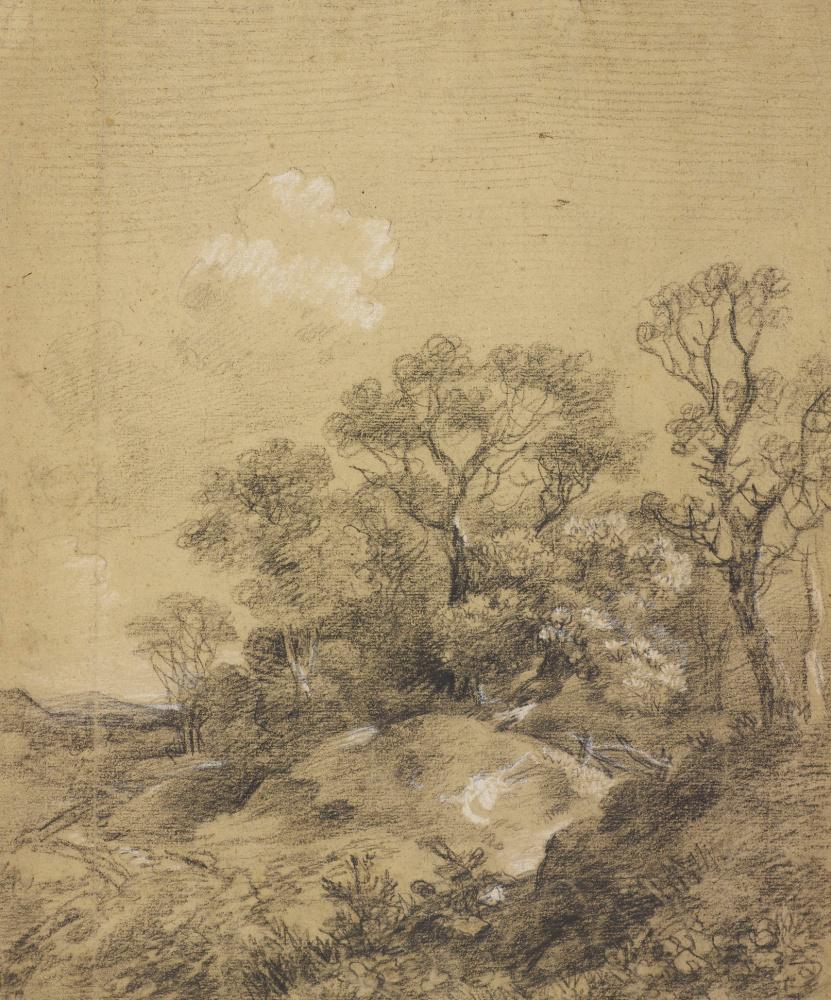 2-Томас Гейнсборо - Деревья на пригорке (ок. 1748) - Королевская библиотека в Виндзоре.jpg