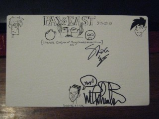 my autograph card for PAX East