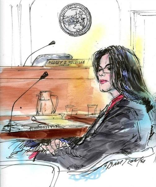 Майкл Джексон на суде 2005 года,  художник Билл Роблес