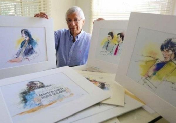 Билл Роблес и его работы (слева – Майкл).