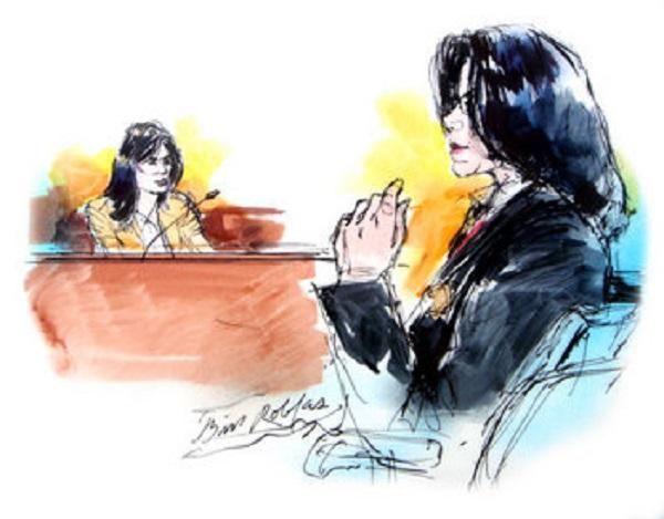Джун Чандлер на скамье свидетелей. Рисунок Билла Роблеса
