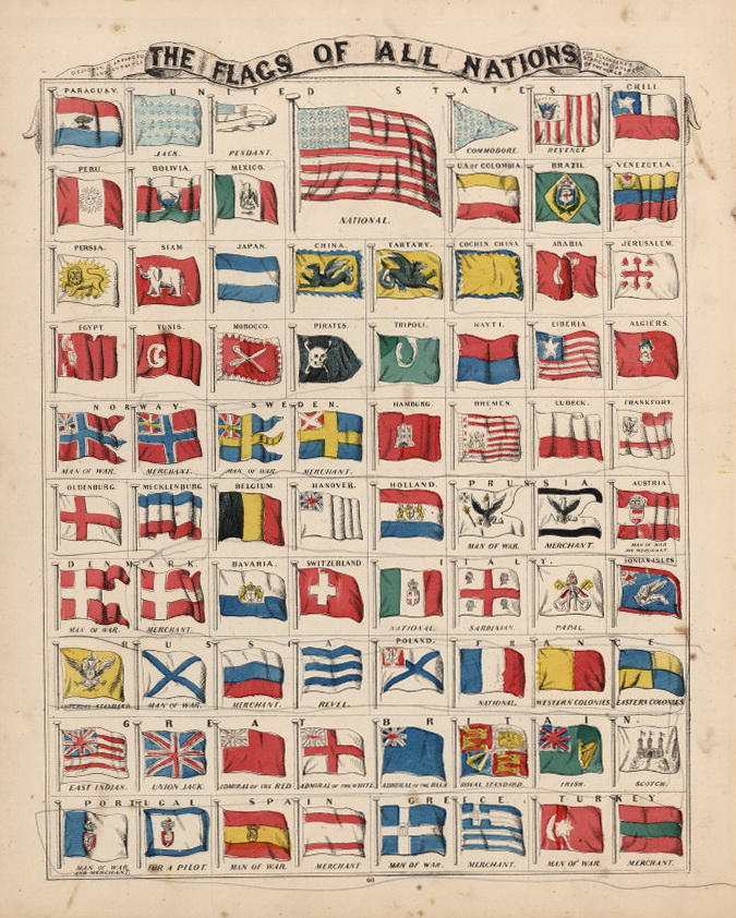 1865 The Flags of All Nations. Religions and Races of the World.
