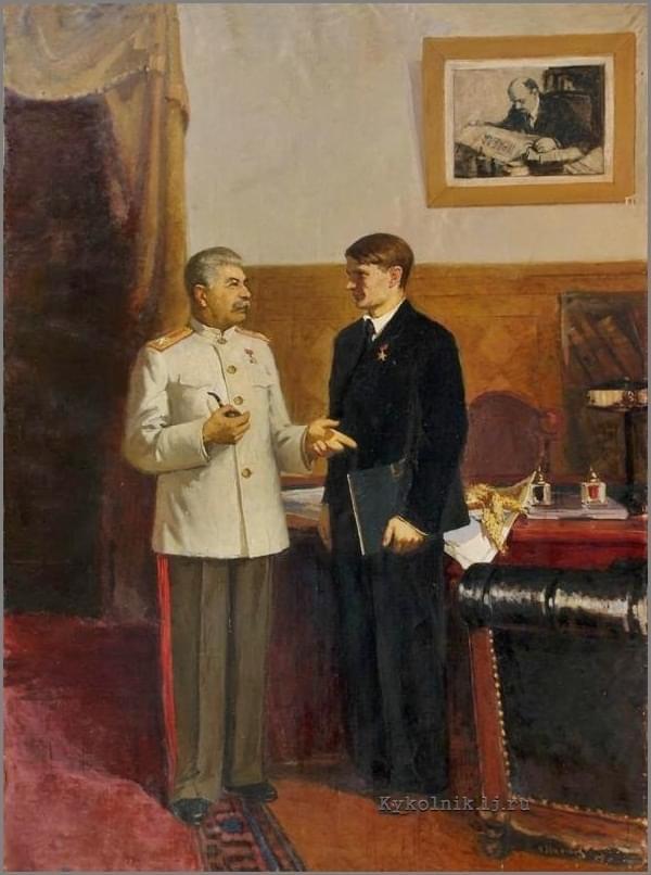 Сталин и Лысенко, Трофим Денисович. Кто автор не знаю, да и не важно.
