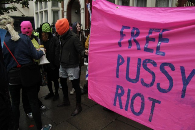Free Pussy Riot at the Russian Embassy in London, photography Darren Adams