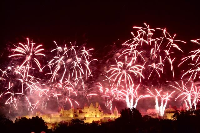 Bastille Day fireworks, Carcassonne 2012 - pink