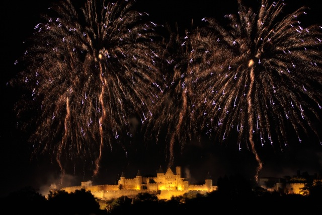Bastille Day fireworks, Carcassonne 2012 - blue birds