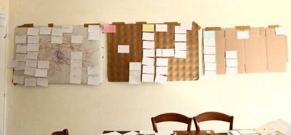 notecards on wall