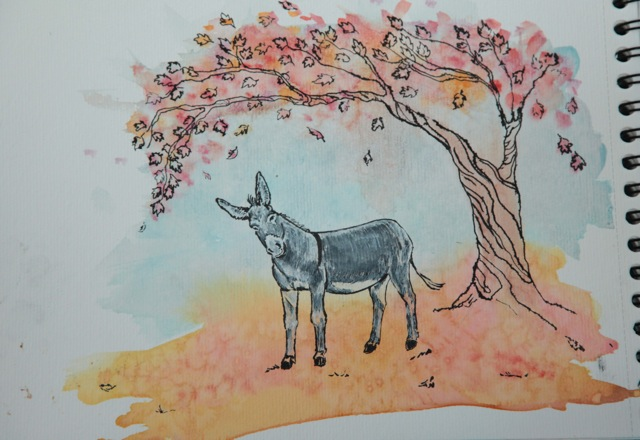 10 Donkey and autumn tree