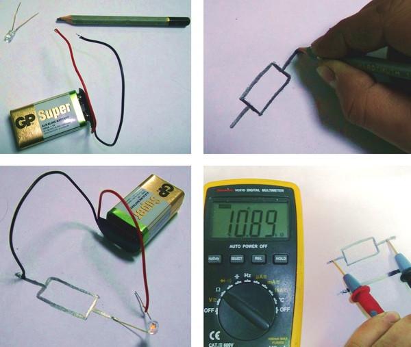 Нарисованный резистор в электрической цепи