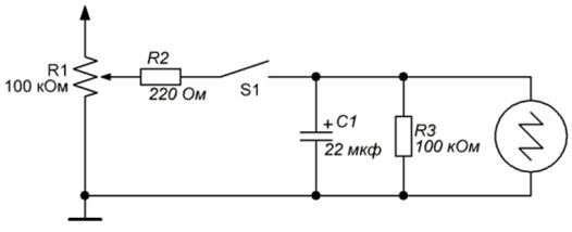 Схема для измерения емкости конденсатора
