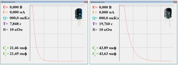 Разряд конденсатора по экспоненте. Измерение емкости конденсатора.