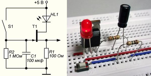 R1) транзистор закрывается