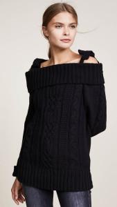 J.O.A.-Cold-Shoulder-Sweater-Cable-Knit-Black-cold-shoulder-sweaters-under-100-dollars-