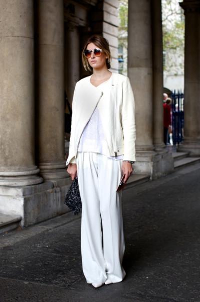 lfw-london-fashion-week-streetstyle-ss-spring-summer-2013-fall-whites-all-white-look-moto-jacket-white-tee-tshirt-wide-leg-pants-clutch-round-sunglasses-minimal-chic-simple-watch-via-vog