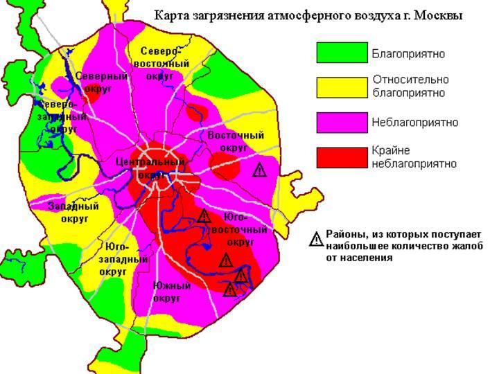 карта загрязнения воздуха в Москве.