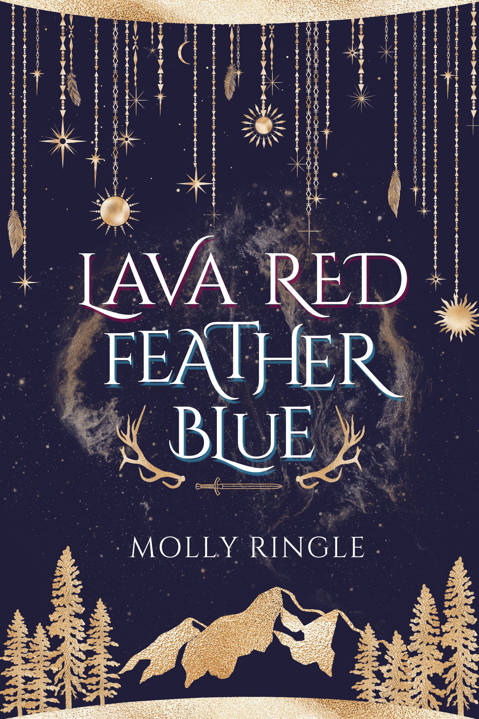 Cover of Lava Red Feather Blue by Molly Ringle: mountains, starry sky, jewels, trees