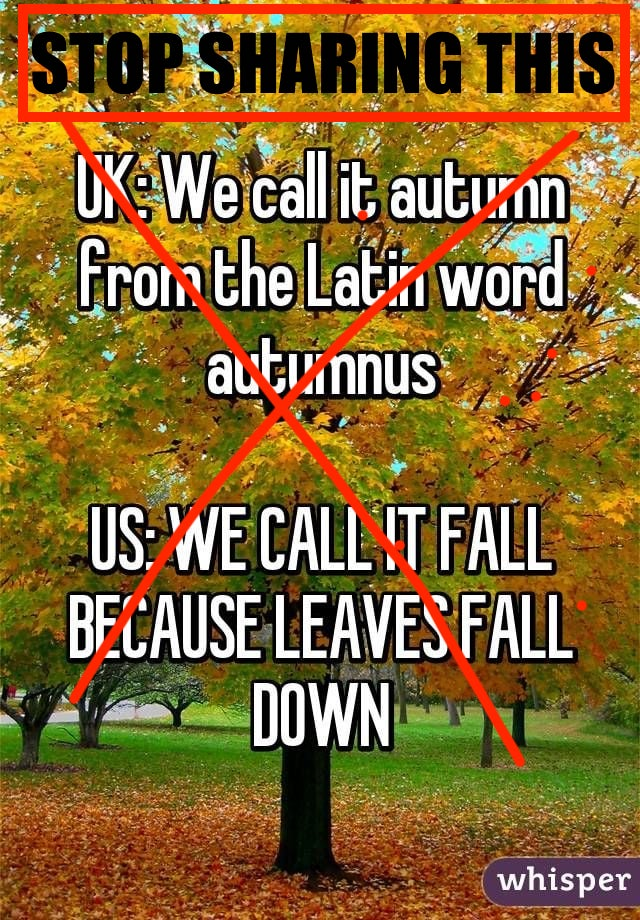 """Picture of autumn foliage with text: """"UK: We call it autumn from the Latin word autumnus. US: We call it fall because leaves fall down."""""""