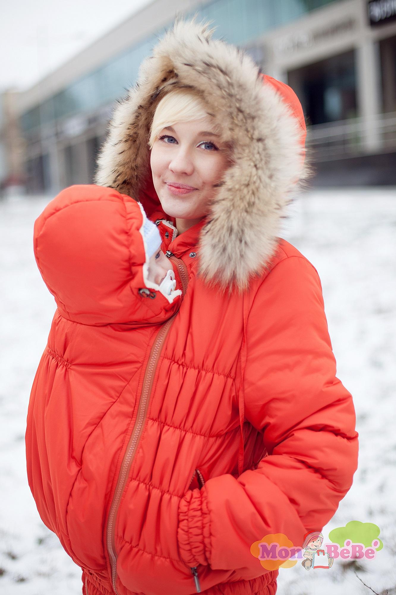 Зимняя слингокуртка 3в1 (подходит для беременных) Modress оранжевая
