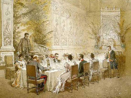 Александр III с домочадцами за рождественским ужином.