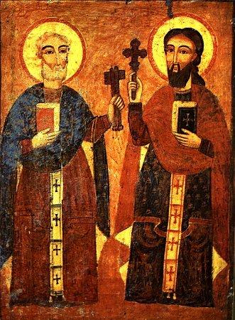 Апостолы Петр и Павел. Коптская икона