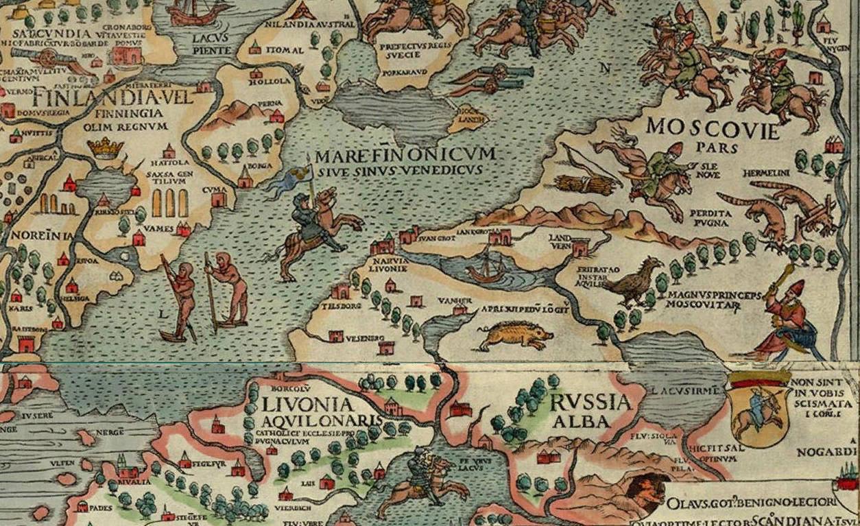 Белая Русь (Russia Alba) около озера Ильмень (Lacus Irmen). Фрагмент карты Carta Marina, 1539. Commons.wikimedia.org / Олаф Магнус