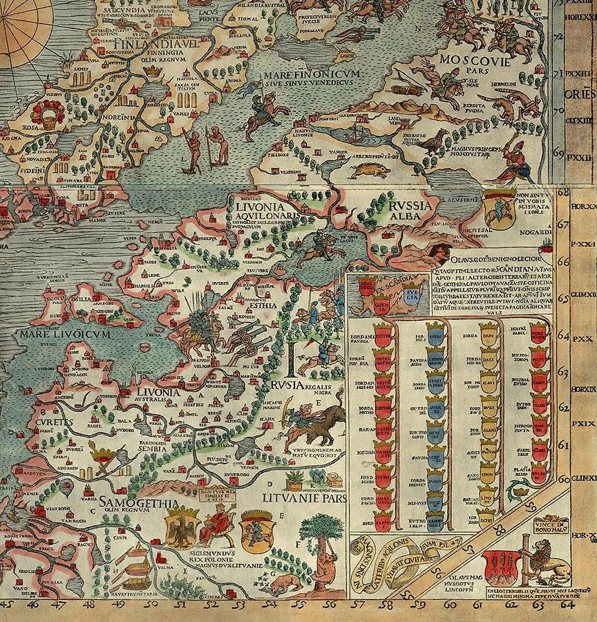 Жемайтия (страна между низовьями Немана и Виндавой) и другие регионы на Carta Marina, 1539 год. Commons.wikimedia.org / UrusHyby