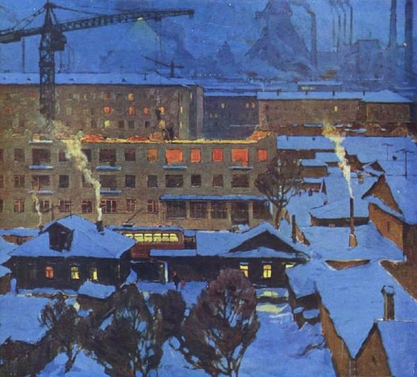 Витомский Борис Михайлович (1918-1975) «Город строится» 1970-е