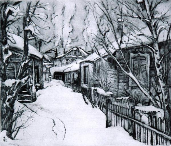 Ветров Александр Егорович (1952) «Печи затопили. Деревня Куркино» 1991