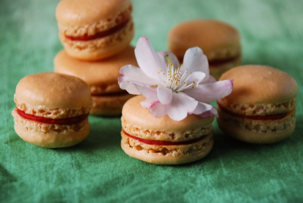 малиновые macarons