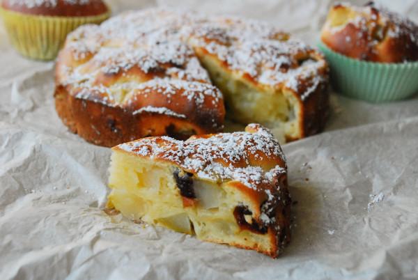 грушево-вишневый пирог