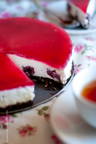 вишневый творожно-сливочный торт