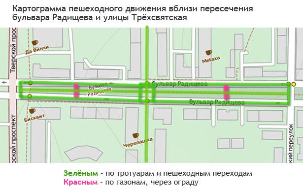 Картограмма пешеходного движения вблизи Трёхсвятской