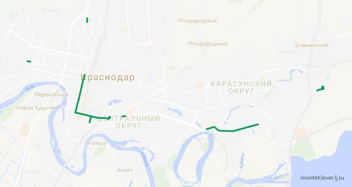 Текущая длина выделенных полос для общественного транспорта в Краснодаре: 12,1 км