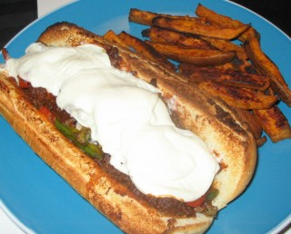 Himself's Philly Teesesteaks and my Spicy Baked Yam Fries