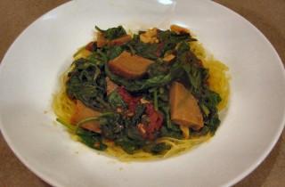 Chipotle Seitan and Spinach over Spaghetti Squash
