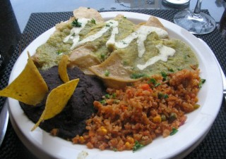 Green Enchiladas with Refried Black Beans and Spanish Rice from Karyn's Cooked