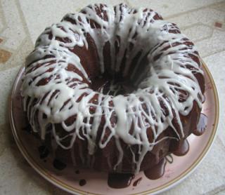 Chocolate-Orange cake with Orange Schnapps Cocoa Glaze and Bourbon Glaze