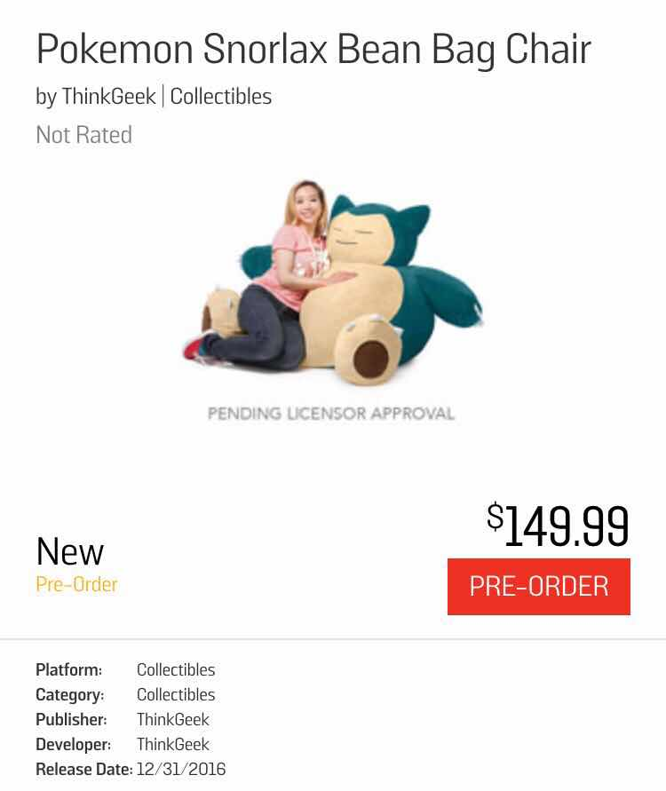 So If It Is Real GameStop Releasing A Snorlax Beanbag Chair From ThinkGeek Its Pretty Pricey But My Gosh I Totally Get Could D