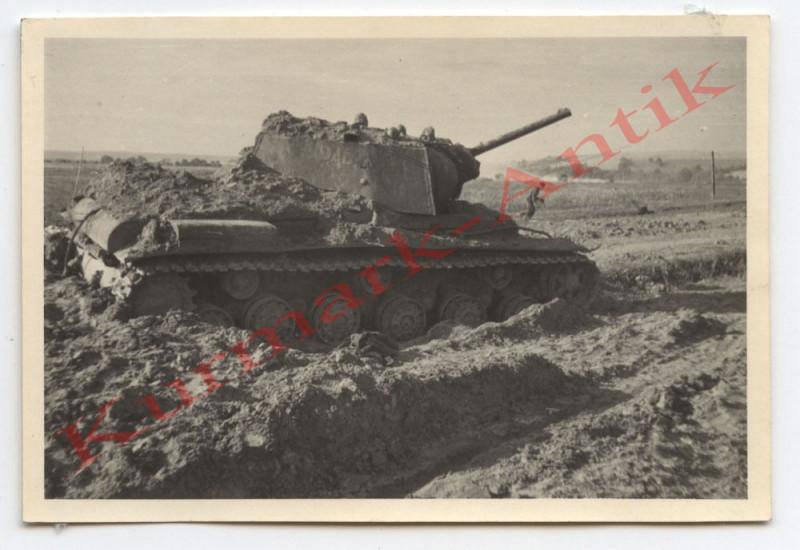 N449 Foto Wehrmacht Litauen Russland Beute Panzer KW1 FRONT !!! Top Kennung !