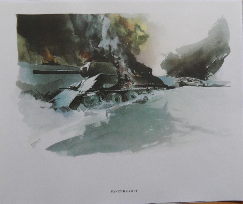 Panzer Russland Winter 1942-43 Aquarell von PK Hermann Schneider