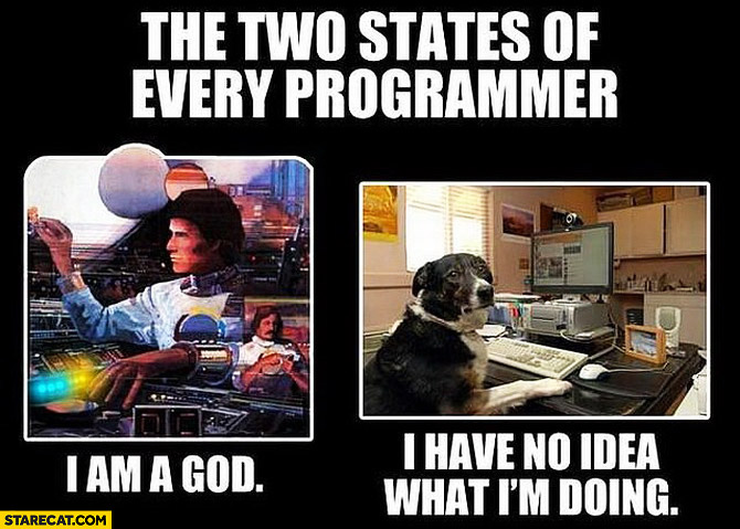 two-states-of-every-programmer-i-am-god-i-have-no-idea-what-im-doing
